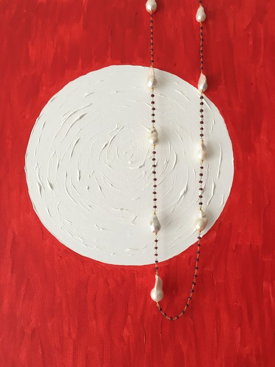 Collana perle e rubini