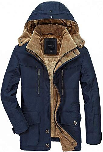 APTRO Mens Winter Coat Warm Parka Jackets Faux Fur Lined Outdoor Coat with Removable Hooded