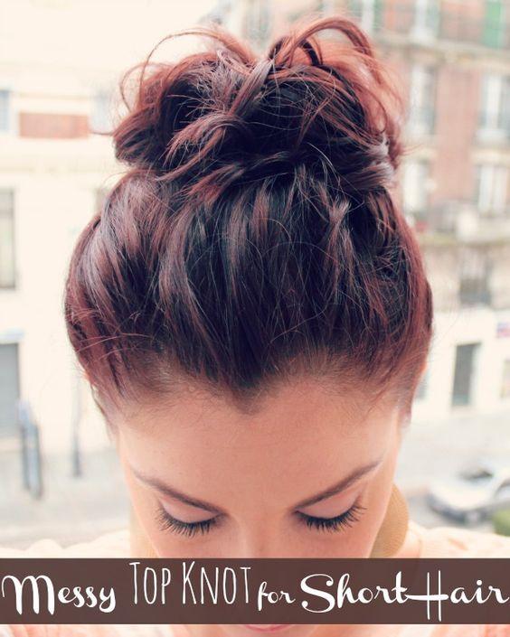 Patryjordan Easy Hairstyles For Short Hair : Mess TopKnot for Short hair
