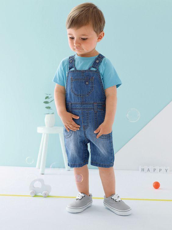 Jardineiras curtas em ganga!  #Jardineiras #denim #ganga #novacoleção 2016 #bebé #menino #azul #primavera #verão #estilo