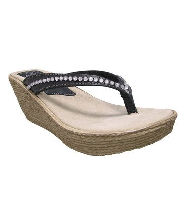 Look what I found on #zulily! Black Fate Leather Wedge #zulilyfinds
