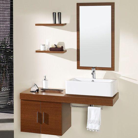 Conjunto mueble de ba o mix nogal hogar decoracion for Decoracion mueble bano