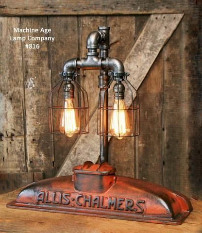 Steampunk Industrial Allis Chalmers Radiator Top Lamp Light 816 Industrie Stil Lampen Coole Beleuchtung Rustikale Lampen