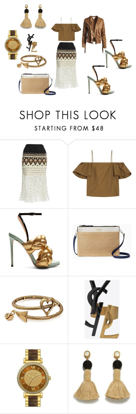 """""""Untitled #1905"""" by deirdre35 on Polyvore featuring Loewe, Fendi, Marco de Vincenzo, Kate Spade, Alex and Ani, Yves Saint Laurent, Michael Kors, Lizzie Fortunato and Sans Souci"""