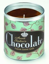 Aunt Sadie's Chocolate with Green Background Candle