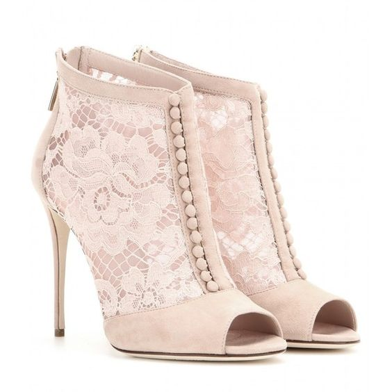 Dolce & Gabbana Lace Peep-Toe Ankle Boots (£795) ❤ liked on Polyvore featuring shoes, boots, ankle booties, heels, ankle boots, pink, pink booties, short boots, heeled booties and peep toe booties