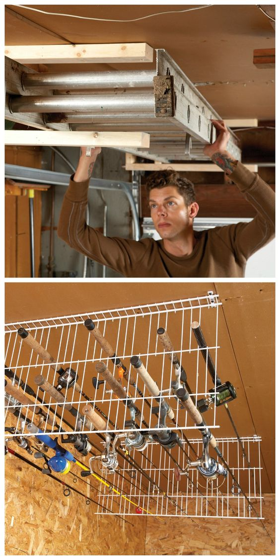 sneak peek ingenious garage storage ideas fishing rods. Black Bedroom Furniture Sets. Home Design Ideas