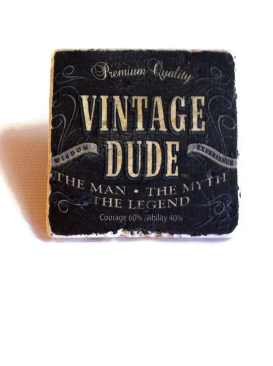 Vintage Dude Coaster Birthday Gift For Him Guy By