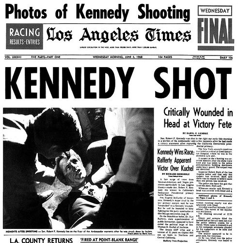 Kennedy Shot -- front page of the L.A. Times by Franklin Avenue, via Flickr