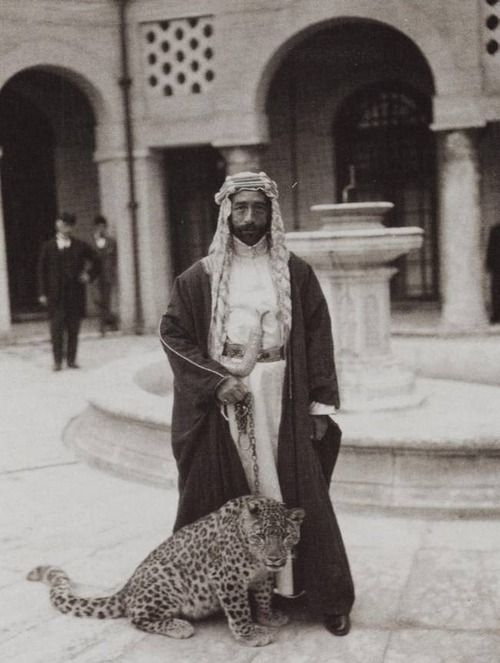 Just Taking The Leopard Out For A Stroll King Faisal Of Iraq Rare Historical Photos King Faisal Historical Photos