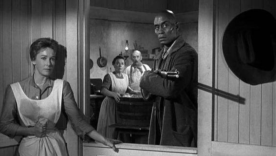 "Vera Miles (Hallie) + Woody Strode (Pompey) in ""The Man Who Shot Liberty Valance"""