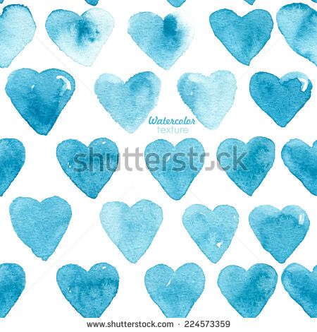 Beautiful seamless watercolor design elements. Vector pattern with watercolor hearts