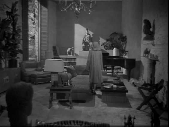 "Still from ""Undercurrent"" (1946).  Love the brother's ranch house living room which is very serene and surprisingly modern.:"