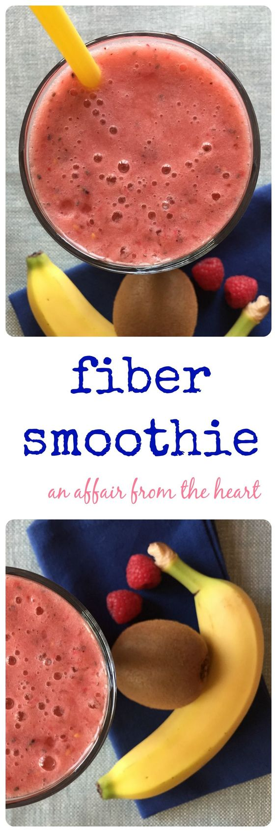 fiber smoothie -anaffairfromthehear.com Fiber + water = helps with weightloss. Drinking a high fiber smoothie in the morning can keep you sustained through to lunch! We think this one is DELICIOUS!