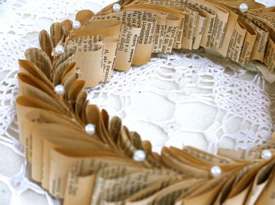 Greek style book wreath vintage book paper by TheHappyLibrarian