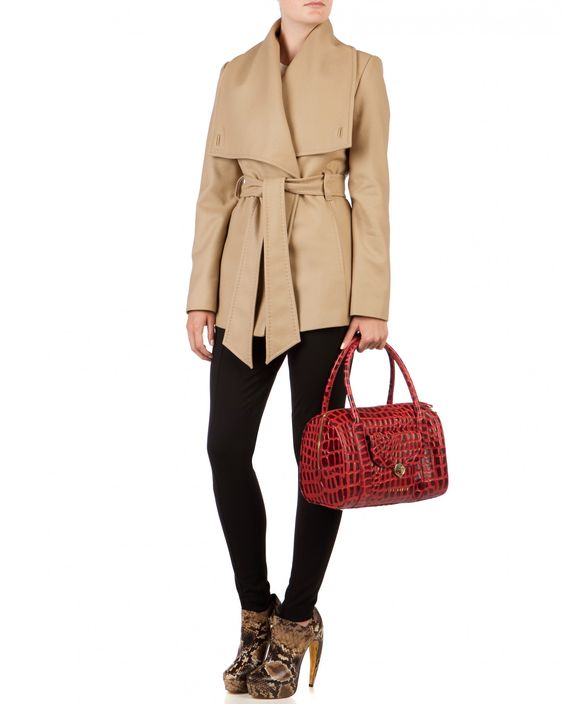 Short wrap coat - MATILD - Ted Baker Wool and Cashmere Printed