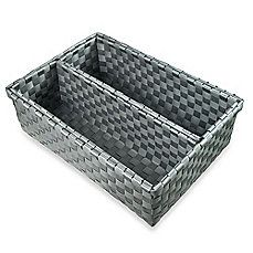 image of Woven Nylon 3-Piece Wide Drawer Organizers in Grey