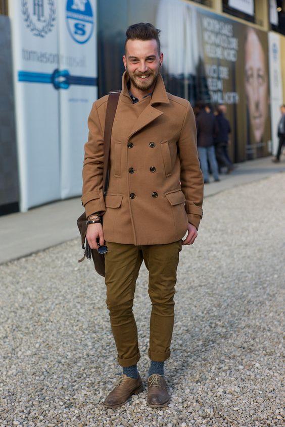 Mid brown Peacoat skinny olive khaki pants contrasting sockls