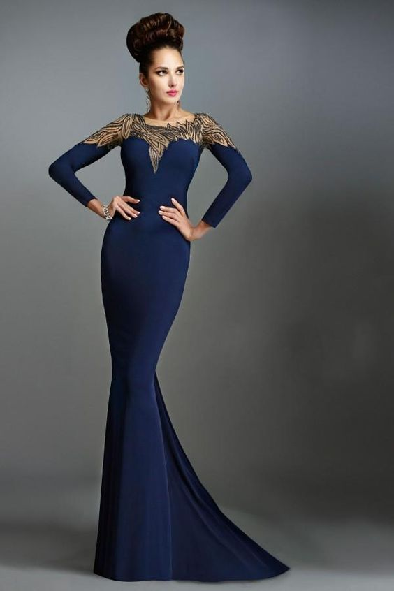 2015 Arabic Mother of the Bride Dresses by Janique High Neck Navy ...