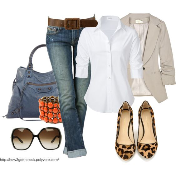 White, denim, add a little taupe with leopard shoes...and you have a class act ladies:)