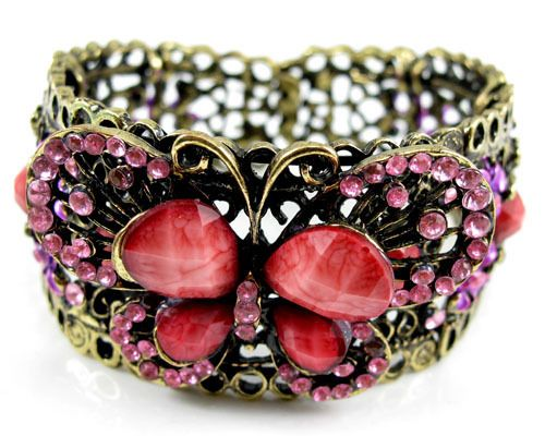 'Pink Butterfly Cuff Bracelet' is going up for auction  with a starting bid of $7.