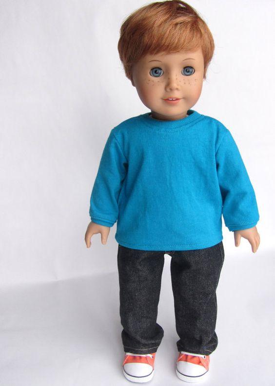 American Girl Boy Doll Clothes  Black Denim Jeans by Minipparel