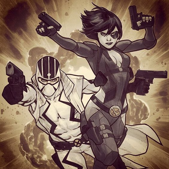 Domino & Fantomex NYCC 2015 by Mahmud Asrar #domino #fantomex #xmen #marvel #comics #art #artwork #illustration #nycc