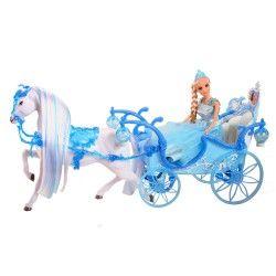 Amelia 18373 Eis-Prinzessinnen blaue Kristall-Kutsche Pferd und Princess Puppe