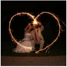 Sparkler wedding photo.