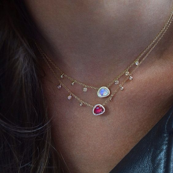14kt rose gold and diamond ruby drip necklace – Luna Skye by Samantha Conn
