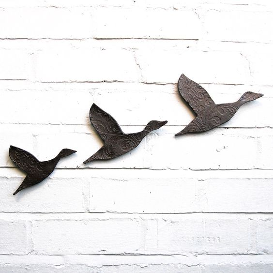 Flying ducks Ceramic wall art set of three Midnight lake metallic graphite finish Modern retro classic home decor. $75.00, via Etsy.