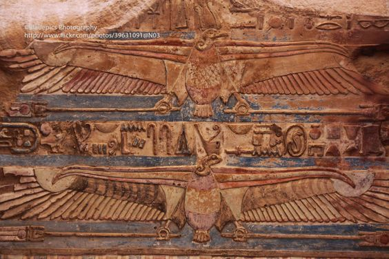 https://flic.kr/p/do2eog | Kom Ombo, Roof decoration | It's amazing that the old colours have remained.  The Temple of Kom Ombo is an unusual double temple built during the Ptolemaic dynasty in the Egyptian town of Kom Ombo. Some additions to it were later made during the Roman period. The southern half of the temple was dedicated to the crocodile god Sobek, god of fertility and creator of the world with Hathor and Khonsu. Meanwhile, the northern part of the temple was dedicated to the…