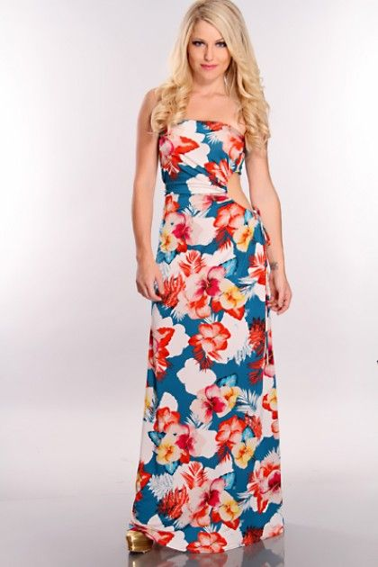 Teal Floral Printed Maxi Dress .maxi dress #kathyna257892 #style for women #womenfashionwww.2dayslook.com