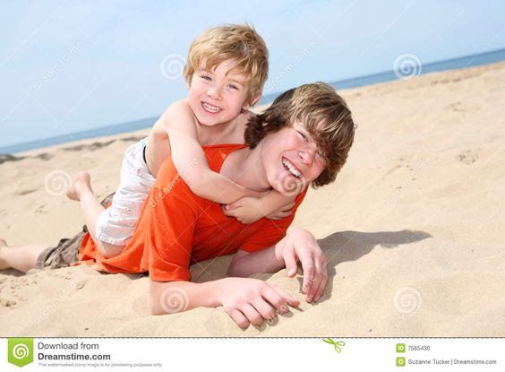 Age:9 years old-Our summer holiday. We took the boys to Brighton  for two weeks. Chris adores he's older brother Mark.