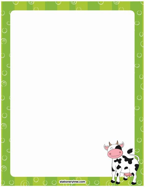 Cow Border Printable cow stationery and writing paper. free pdf ...