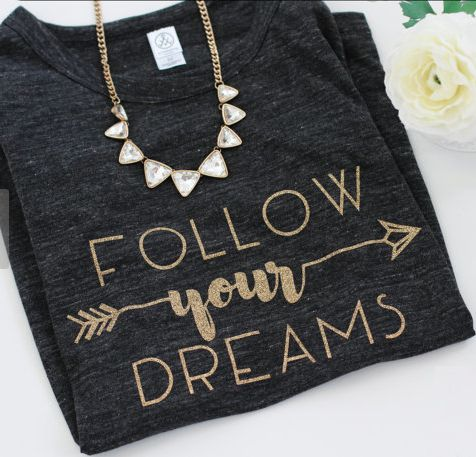 golden 'follow your dreams' graphic tee