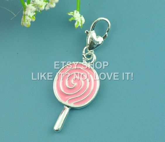 Wholesale – cclip on lollipop lolly charm, zinc metal alloy, silver plated, with enamel pink, 40x14mm fit thomas sabo. pack of 10 LINLISSB07548