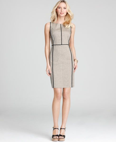 Linen Blend Piped Sheath Dress