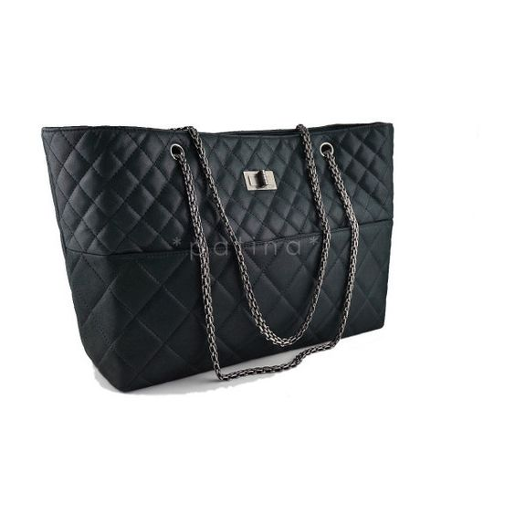 Pre-Owned Chanel Charcoal Black Classic Large Reissue Shopper Tote Bag ($2,399) ❤ liked on Polyvore featuring bags, handbags, tote bags, black, leather purse, black leather shopper, chanel handbags, oversized leather tote and black leather purse
