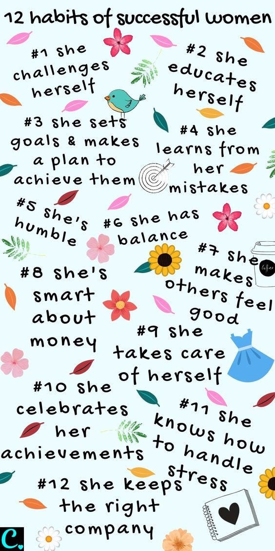 12 Habits of Successful Women Infographic #habits #successhabits #habitsofsuccessfulwomen #successfulwomen #success #successmindset #infographic