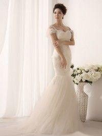 Robes de mariée 2014 nouvelle vente chaude Vip chapeau haut de collier douille sirène vintage en dentelle MFR109