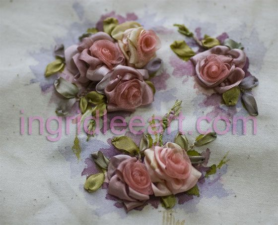 Silk Roses on handpainted background, Ingrid Lee 12cm x 12 cm