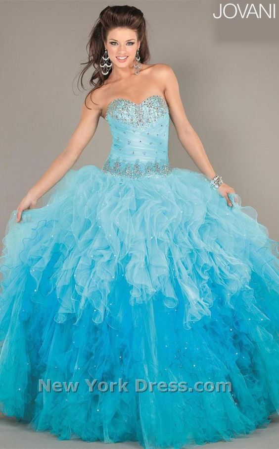Light blue and turquoise ombre quinceanera dress. | Sweet Sixteen ...