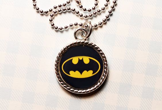 Batman Logo Cameo Necklace for Everyday Wear by jennyloveskawaii, $14.00