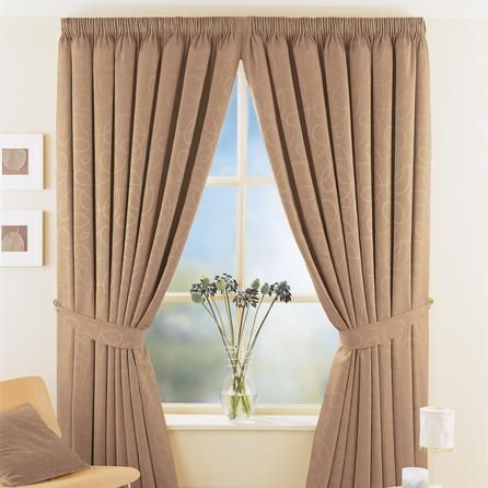Toledo mocha thermal pencil pleat curtains dunelm 90x90 for Living room curtains 90x90