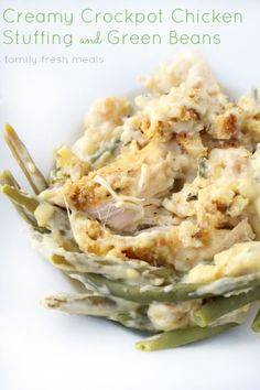Creamy Crockpot Chicken Stuffing and Green Beans-breasts, stuffing mix, cream of chicken soup, sour cream & frozen green beans.