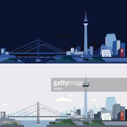Dusseldorf skyline, night and day, with clouds and green trees.... #dusseldorf: Dusseldorf skyline, night and day, with clouds… #dusseldorf