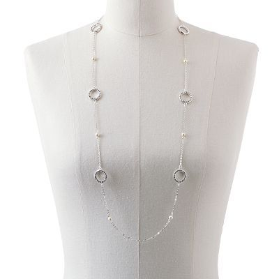 Chaps Silver-Tone Simulated Pearl and Simulated Crystal Long Station Necklace