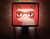 Grumpy Cat Night Light negative adorable art by Kathleen Habbley Cute Nursery Bathroom hallway Bedroom GET IT nightlight Nite Lite