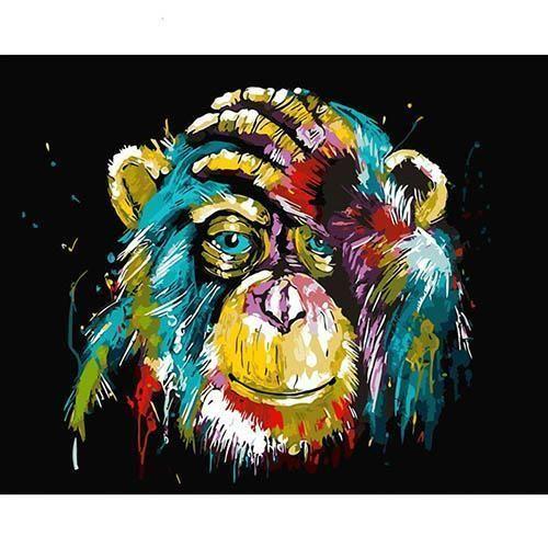 Der Grubelnde Affe Malen Nach Zahlen Set Acrylmalerei Abstrakt